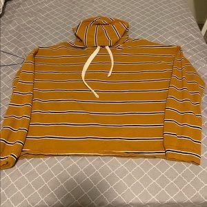 Yellow horizontal striped hoodie/shirt
